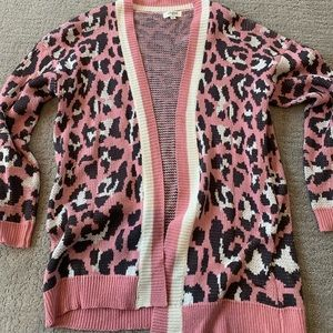 Pink Leopard long cardigan